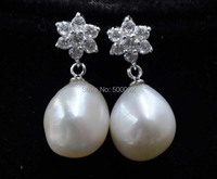 Natural 11 12mm Freshwater Baroque Pearl Dangle Earring