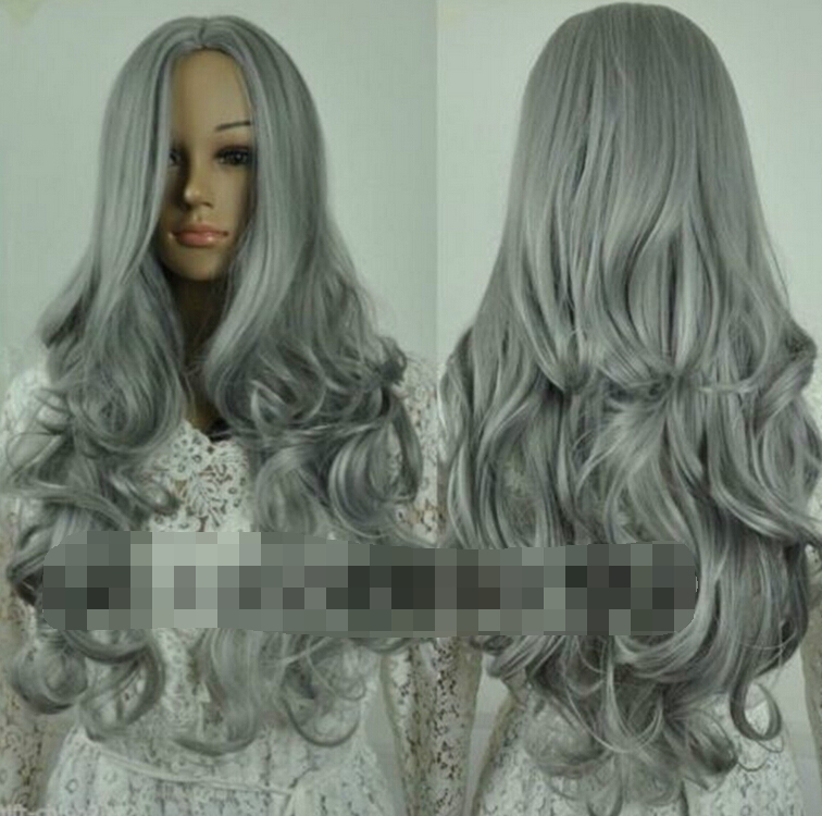 sexy women ladies long dark silver grey wavy Peruca HAIR cosplay Peluca Heat Resistant Ladies Long Wavy Synthetic Anime Perruque long wavy oblique bang synthetic cosplay wig