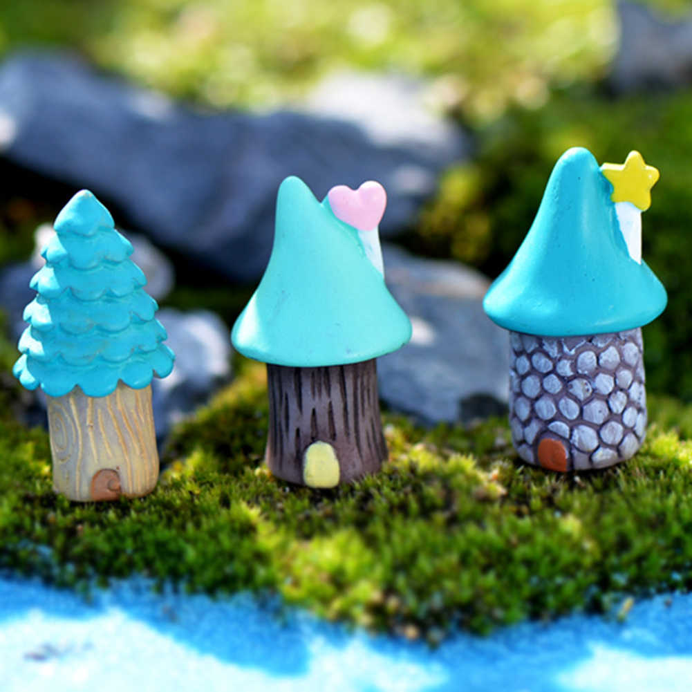 3Pcs/Set Vintage Blue House Miniature  Craft Fairy Garden Garden Ornaments Bonsai  Micro Landscaping Decor Accessories