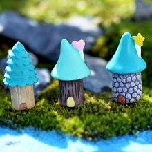 Bonsai azul decoração de jardim em miniatura para artesanato