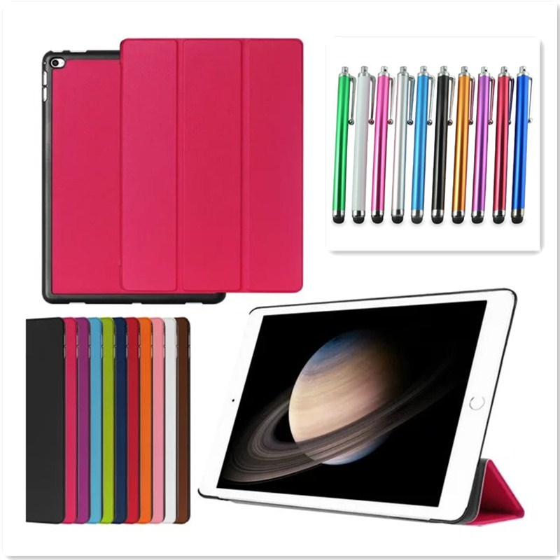 Tablet Case for iPad Air 2 6 Flip PU Leather Tri-Fold Folding Folio Smart Wake UP Cover for iPad air 2 A1566 A1567 + Stylus Pen fluffy straight synthetic siv hair vogue side bang short women s human hair wig