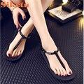 El mejor regalo nueva moda muchacha de las mujeres nave de la gota zapatos de playa sandalias planas sandalias zapatos de verano simple bea6623 nave de la gota