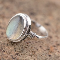 Retro Moonstone Female Ring Real 925 Sterling Silver Ring Vintage Pure Handmade Silver oval Ring For Original Jewelry Wholesale
