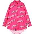 Para mujer del estilo del verano maxi de la gasa de la camisa de las mujeres más el tamaño camisas para mujer blusas de las señoras de impresión de la letra de gran tamaño larga blusa rosa