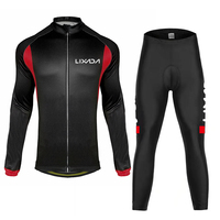 Lixada Cycling Cloth Set Men's Sports Suit Winter Autumn Long Sleeves Cycling Jersey Padded Cycling Pants Windproof Cycling Sets