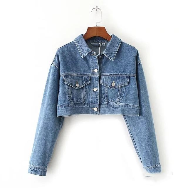 Women Lapel Short Blue Black Denim Jacket Single Breasted Spring