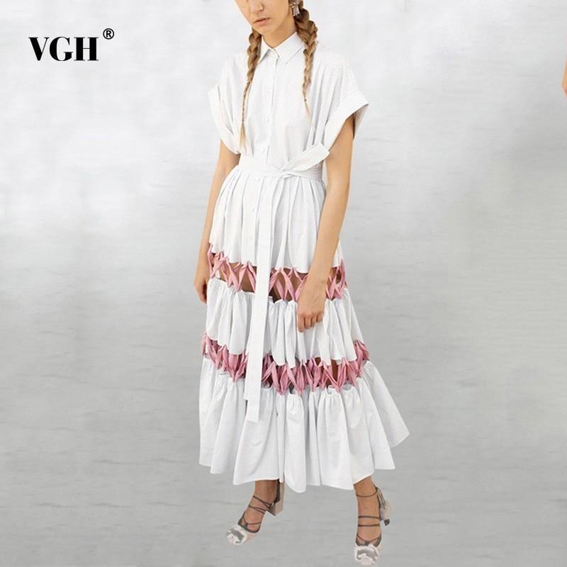 VGH été décontracté une ligne robe pour les femmes revers à manches courtes évider Bandage taille haute solide robes femme mode nouveau 2019
