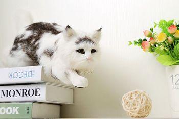 Simulation white cat polyethylene&furs cat model funny gift about 42cmx14cmx13cm