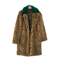 Wholesale Leopard Long Womeb Coat Quality Faux Rex Rabbit Fur Coat