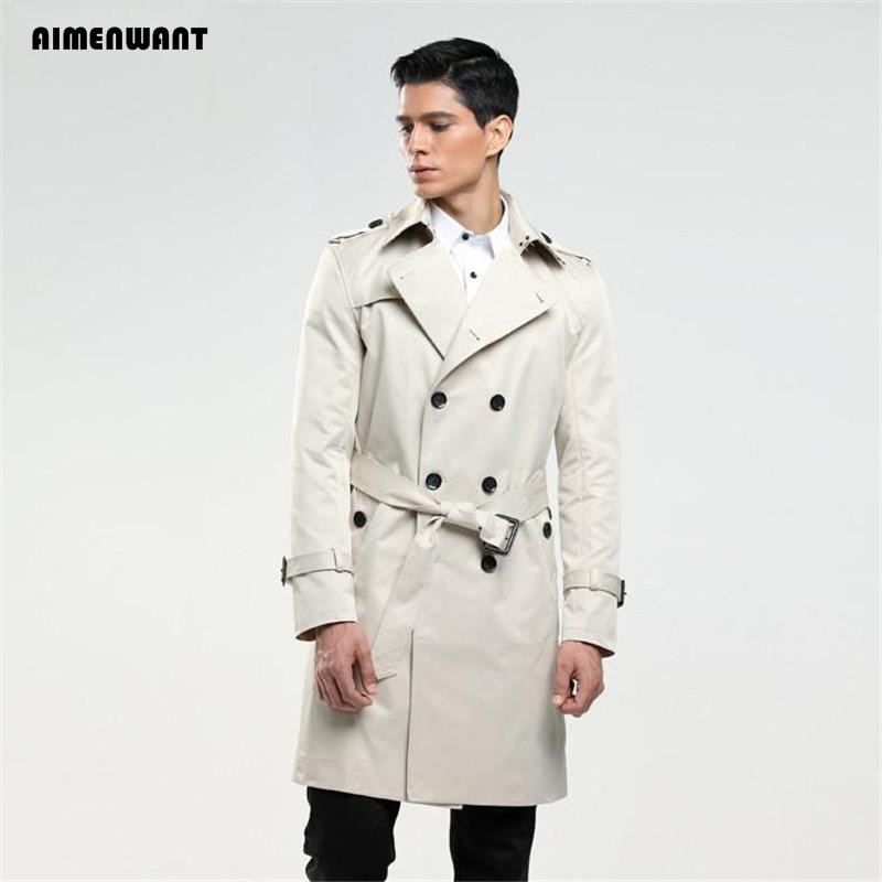 AIMENWANT Men's   trench   coat size custom-tailor England double-breasted long pea coat   trench   slim fit classic trenchcoat as gifts