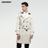 AIMENWANT Men's trench coat size custom tailor England double breasted long pea coat trench slim fit classic trenchcoat as gifts