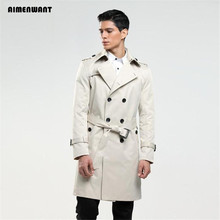 AIMENWANT tamanho custom-alfaiate Inglaterra trespassado trench coat dos homens longo casaco de ervilha trench slim fit clássico trenchcoat como presentes(China (Mainland))