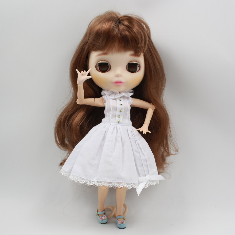 Neo Blythe Doll White Lace Dress With Bow Knot 2