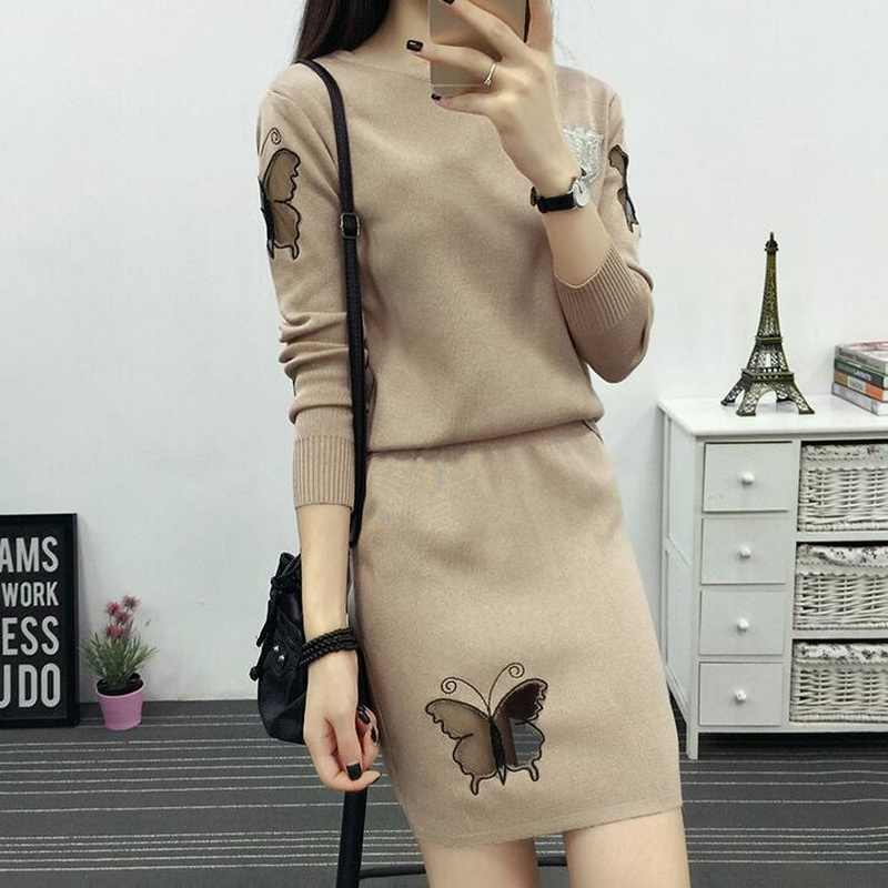 Women Knit Suit Women 2019 Autumn New Butterfly Pattern Full Sleeve Knitting Pullover Sweater Tops + Short SKirt 2 Piece Set