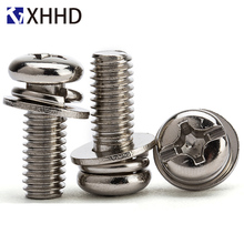 M6 M8 Phillips Round Head Three Combination Screw Metric Thread Cross Recessed Sem Bolt With Washer 304 Stainless Steel