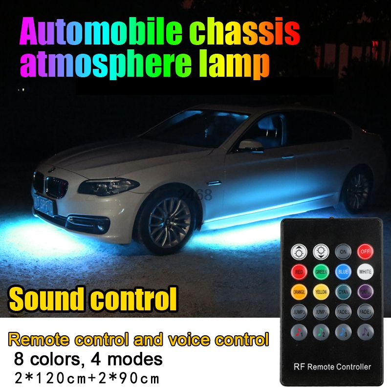 Colorful Strip Under Car Tube Underglow Underbody Glow System Neon Light Kit 120cm 90cm