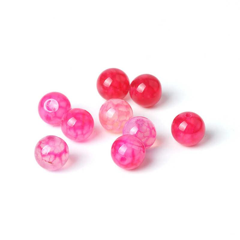TopGoods พลอยแท้ Rose สีชมพู Agate หลวม Turquoise Cracked Vein ลูกปัด 8 มม. หินสำหรับเครื่องประดับสตรีทำ