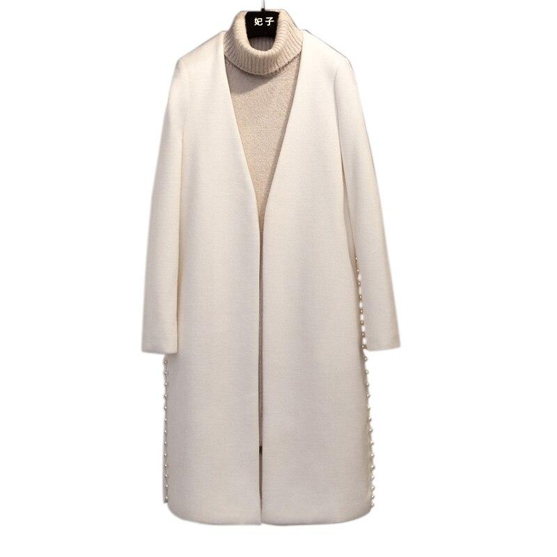 Printemps Manteau Feminino coréen Casaco Pour 2018 Femmes Long Laine De Pardessus cou V Perle Blanc Bureau Solide Nouvelle Dame 5qfUwxFq