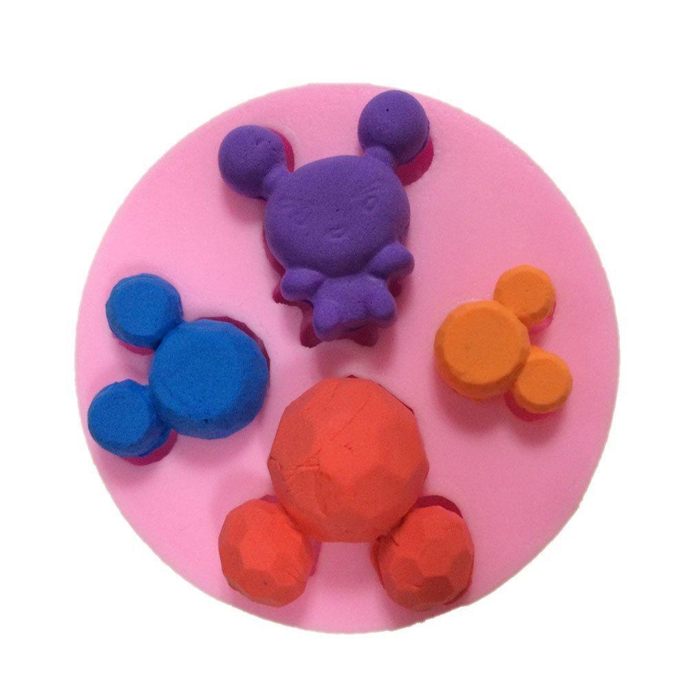 CUATRO Mini Mickey herramientas de cocina molde de hielo de chocolate decoración de la boda Molde de silicona Fondant Sugar Craft Moldes DIY Decoración de Pasteles