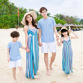2017 beach dresses mother me bohemian mom and daughter son father family look clothing sleeveless family matching outfits