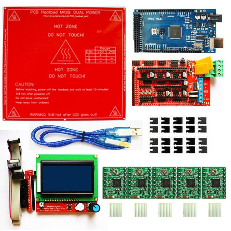 Rampes 1.4 Kit Mega 2560 R3 pour arduino + rampes 1.4 contrôleur + 5 pièces A4988 Module de pilote pas à pas + PCB Heatbed MK2B kit d'imprimante 3D-in 3D Printer Parts & Accessories from Ordinateur et bureautique on AliExpress - 11.11_Double 11_Singles' Day 1