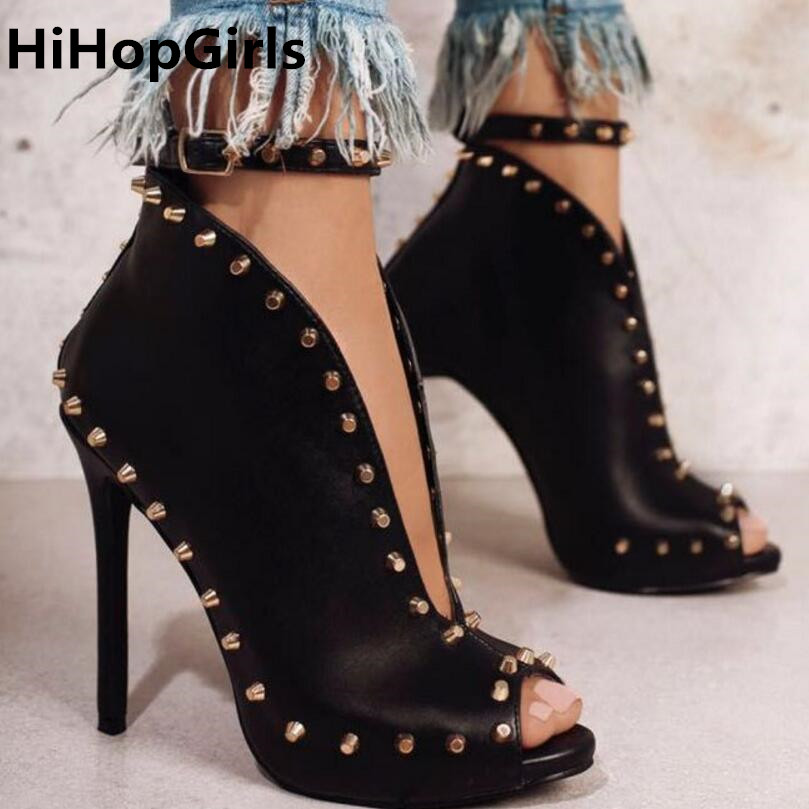 HiHopGirls Women Ankle Strap sandals Roma Pumps Peep Toe Sandals Gladiator Cut Out V Rivets Studs High Heel Shoes Stiletto fashion summer shoes metallic leather pompom caged ankle strap sandals peep toe cut outs spike heel gladiator sandals miquinha
