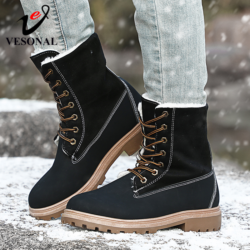 Image 2 - VESONAL 2019 Winter Suede Leather Warm Snow Shoes Women Boots mid calf Plush Fur Velvet Boots Female Booties Woman Footwear-in Mid-Calf Boots from Shoes
