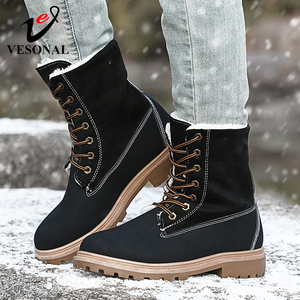 Image 2 - VESONAL 2019 Winter Suede Leather Warm Snow Shoes Women Boots mid calf Plush Fur Velvet Boots Female Booties Woman Footwear