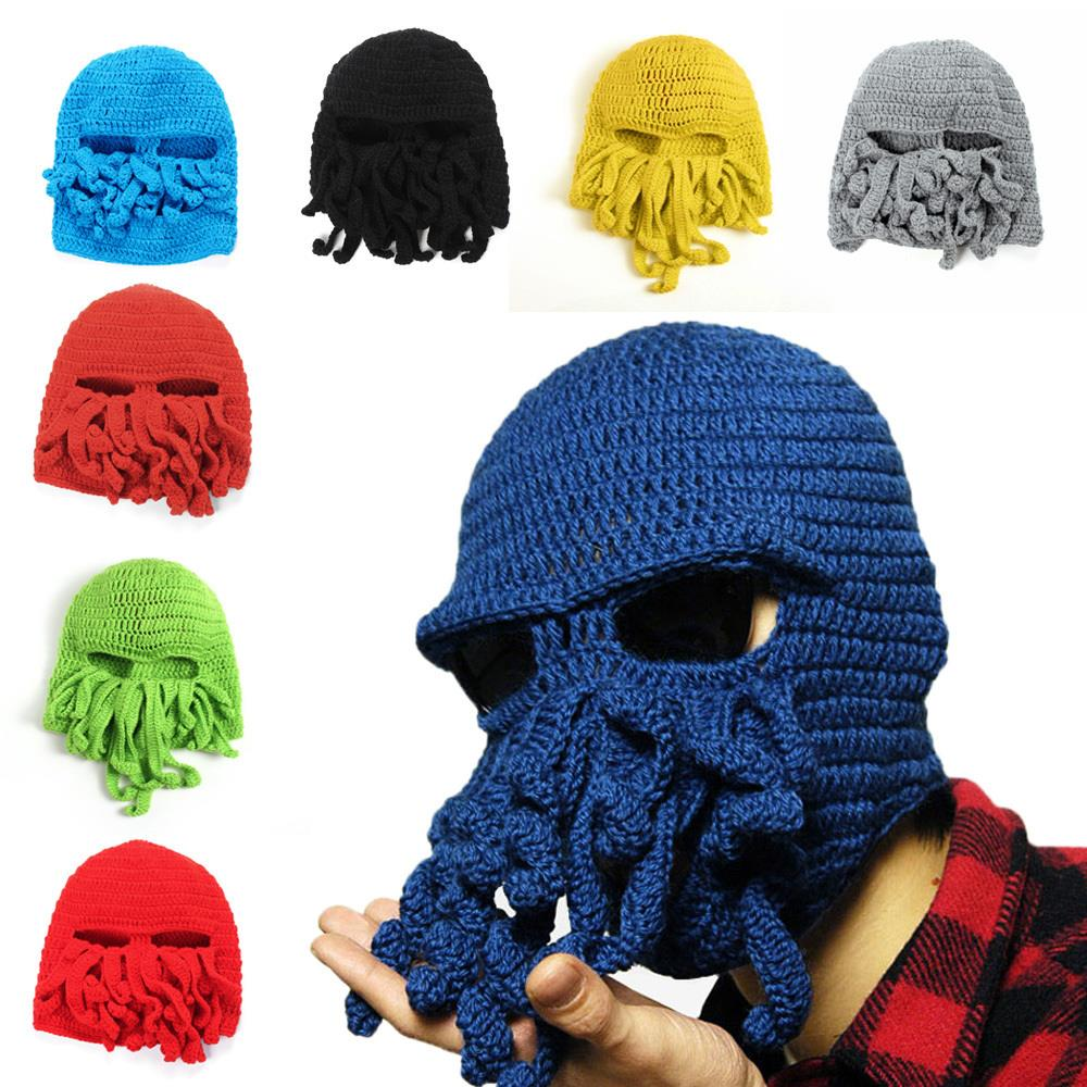 Winter Warm Novelty Unisex Hot Knitted Wool Funny Octopus New Mask