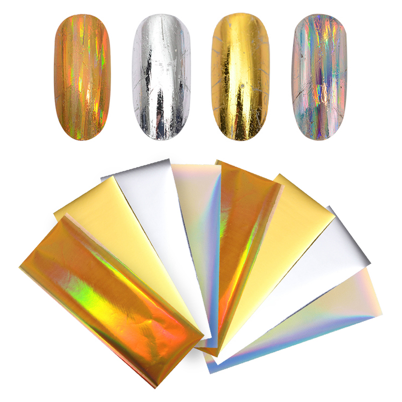 8Pcs Laser Starry Nail Foils Holographic Gold Silver Nail Stickers Paper Decals Manicure Nail Art Decorations 4*10cm цена