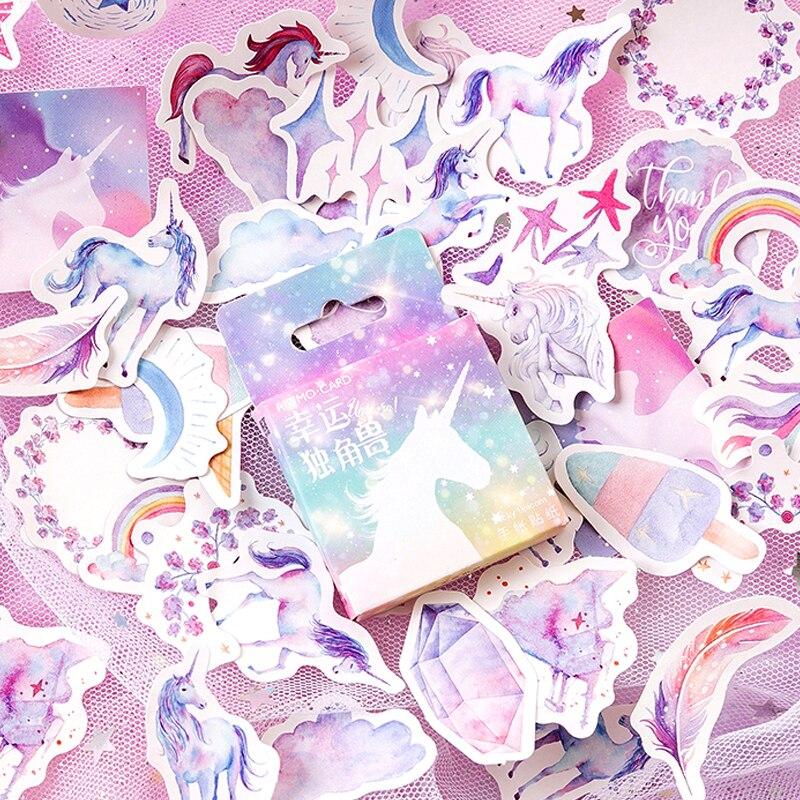 Coscienzioso 45 Pz/scatola Fortunato Unicorn Sticker Arcobaleno Adesivo Adesivo Di Carta Fai Da Te Fatti A Mano Regalo Di Album Di Foto Della Carta Scrapbook Diario Decor Sticker Sconti Prezzo