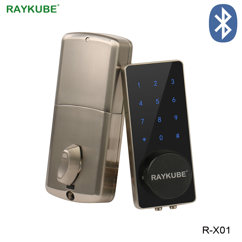 RAYKUBE Electronic Door Lock Password Code Bluetooth APP Opening Touch Keypad Access Control Lock For Home Security R-X01 diysecur magnetic lock door lock 125khz rfid password keypad access control system security kit for home office