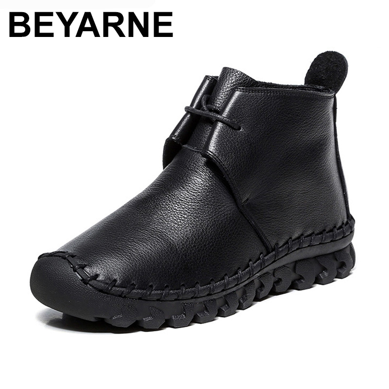 все цены на BEYARNE Women Ankle Boots Handmade 100% Genuine Leather Flat Woman Boots Spring Autumn Round Toe Lace Up Shoes Female Footwear онлайн