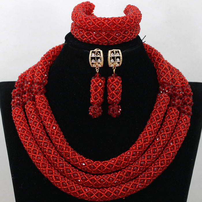 Handmade Red African Wedding Bridal Beads Necklace Set Engagement Crystal Statement Necklace Set Birthday Party Present QW498Handmade Red African Wedding Bridal Beads Necklace Set Engagement Crystal Statement Necklace Set Birthday Party Present QW498