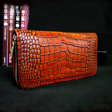 leather handmade wallet men handbag retro bags vegetable tanned head layer cowhide hand bag crocodiles handbags Long zipper