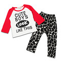Baby Infant Clothes Set New 2016 Letter Cartoon Cotton Casual Children's Clothing for Toddler Boys Suit Two Piece Clothes BBS044