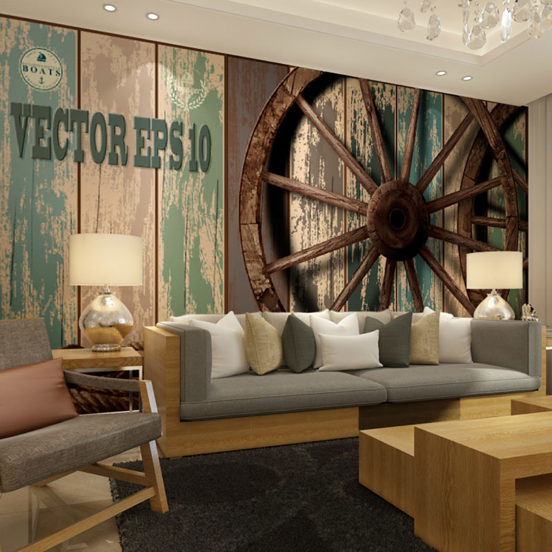 beibehang vintage wooden wall wheel background papel de. Black Bedroom Furniture Sets. Home Design Ideas