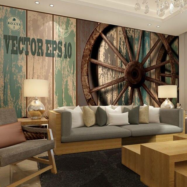 Online Shop beibehang vintage wooden wall wheel background papel de