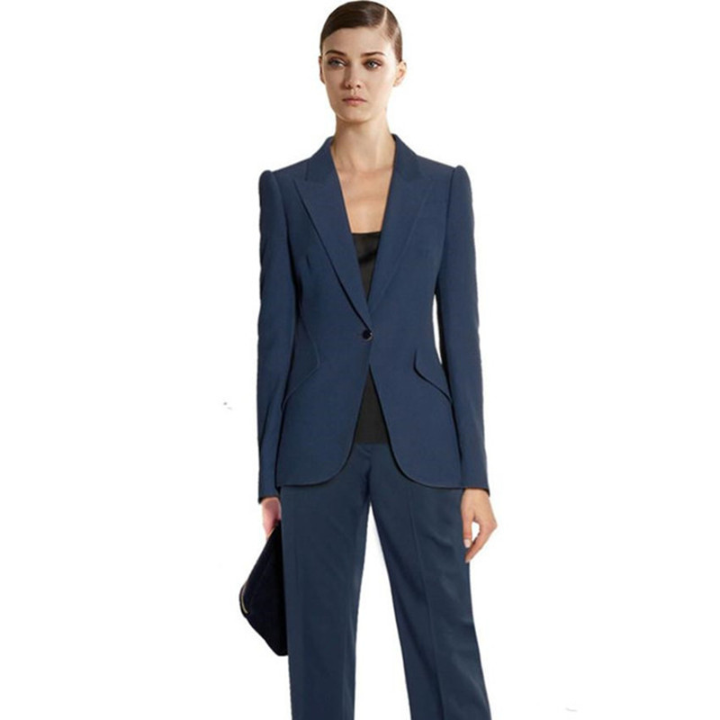 Custom Navy Blue Work Bussiness Formal Elegant Women Suit Set Blazers And Pants Office Suits Ladies Pants Suits Trouser Suits Buy One Get One Free