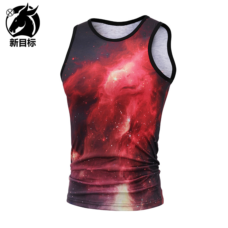 tank top men 2018 NEW 3D painted starry sky universe sleeveless men/women fitness tank top breathable