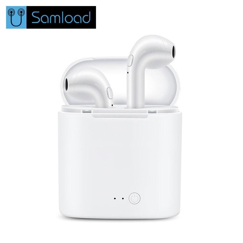 Senza fili di Bluetooth del Trasduttore Auricolare I7 TWS Auricolari Della Cuffia Doppio Gemelli Musica Stereo Auricolare Per Apple ipad iPhone 6 i7 Xiaomi Huawei