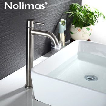 Contemporary Single Cold Bathroom Baisn Faucet Stainless Steel Brushed Toilet Tall Tap Ceramic Plate Spool Basin Mixer Faucet