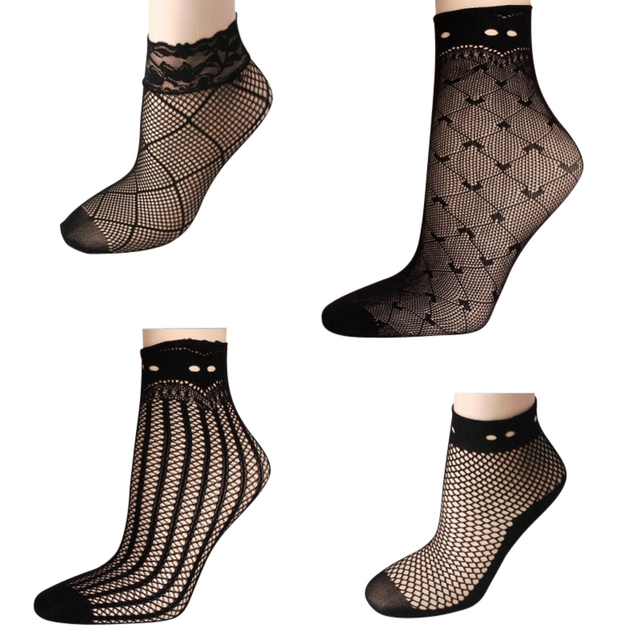 5 Pairs Ultrathin Fishnet Socks with Lace