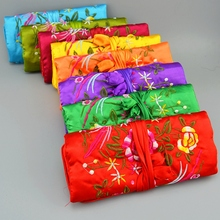 Make Jewelry Roll 10pcs/lot Mix Color 11* 8 inch Silk Embroidery Zipper Drawstring Pouches Bags