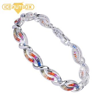 Luxury Women Bracelet With Rainbow Crystal 925 Sterling Silver Fashion Design Cross Charm Bracelet Bangle Anniversary Jewelry
