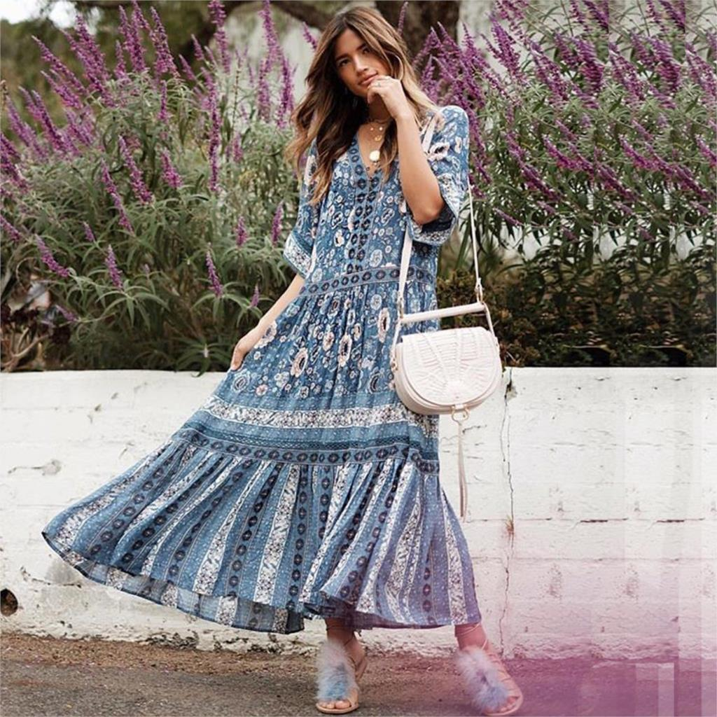 Jastie Boho Hippie Navy Gown Casual Silhouette Flowing Summer Dress V neck Kimono Sleeve Floral Print