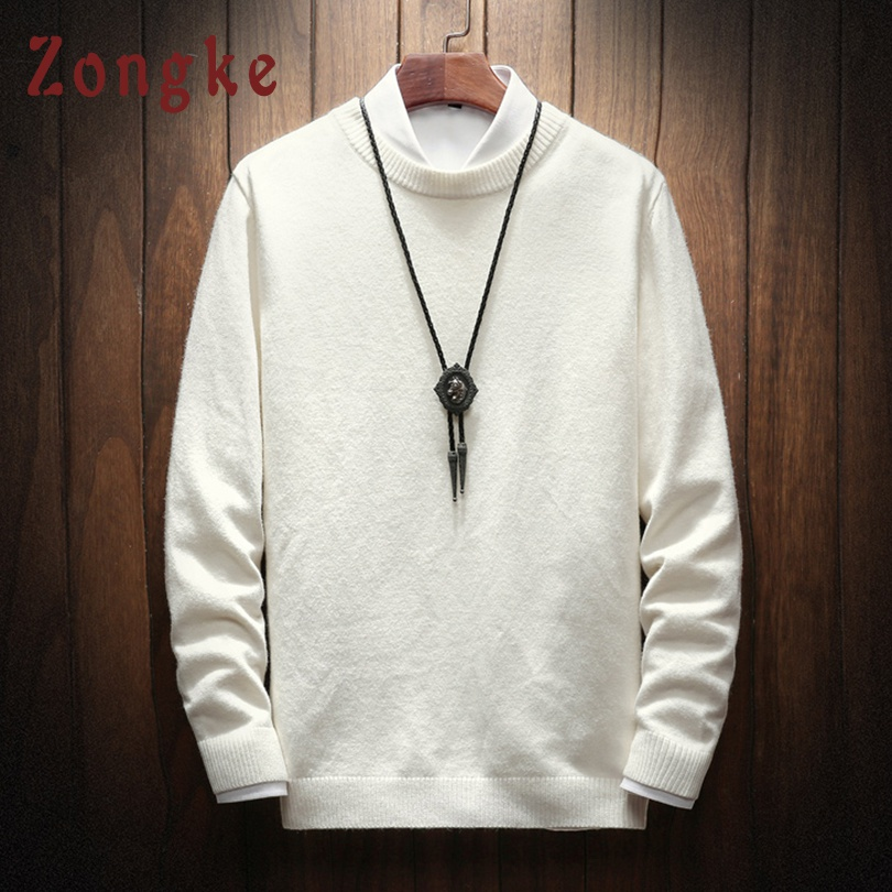 Zongke 2019 New Autumn Winter Solid Casual Sweater Men Slim Fit Knitted Pullover Men Fashion Brand Mens Sweaters Warm M-4XL