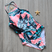 One Piece Swimsuit Women Swimwear Green Leaf Bodysuit Bandage Halter Summer Beach Bathing Suit Swim Monokini Swimsuit