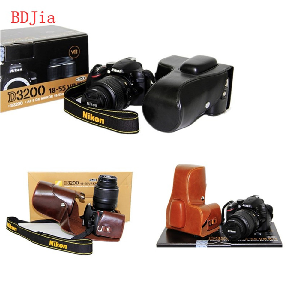 Чехол сумка из искусственной кожи для камеры Nikon D3400 D3300 D3200 D3100 DRSL с объективом 18 55 мм без ремешка