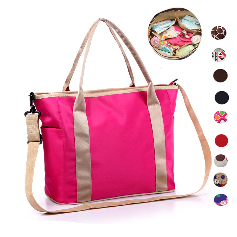 Hot Sale Flowers Printed Zipper Multifunctional Wearable Breathable Mummy Bag Pregnant Mother Bag Baby Diaper Baby Care Bag